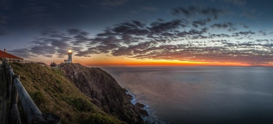 Photo: Byron Bay Lighthouse at sunset.  Photo cred. Murray Vanderveer