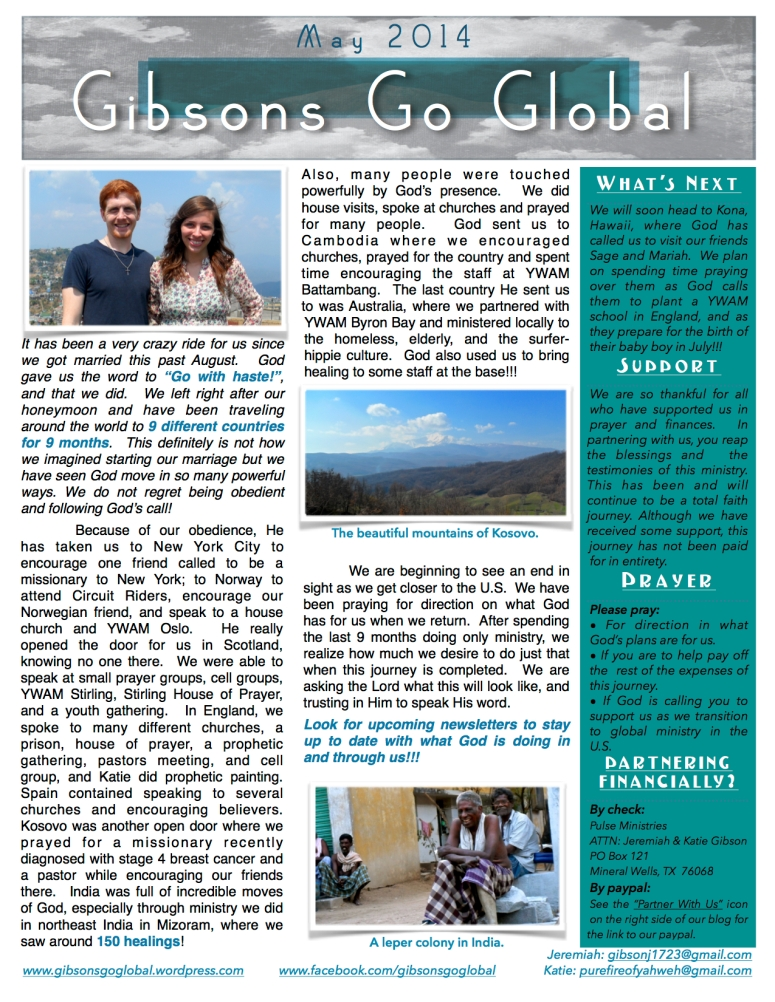 May 2014 Monthly Newsletter