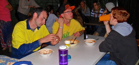 Richard and Ben enjoying Jeremiah's famous chili