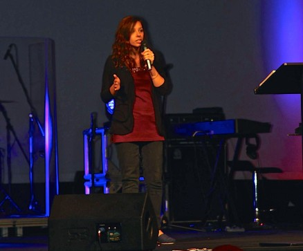 Katie speaking at Encounter God's Presence Camp