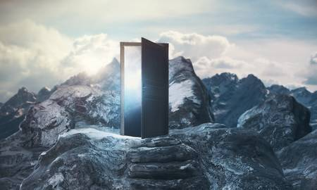 87759125-mountain-steps-leading-to-abstract-open-door-with-view-on-sky-background-promotion-concept-3d-render